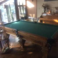 Vintage Custom Handcrafted Oak Tournament Size Pool Table